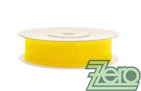 Stuha šifónová 12 mm x 25 m - žlutá,