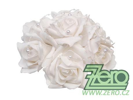 Svatební kytice z růží na auto pr. 20 cm - bílá,