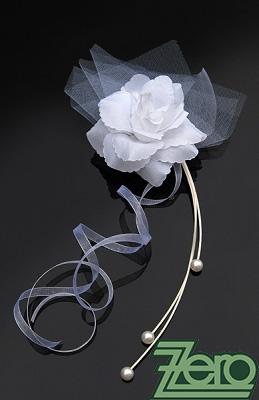 Svatební růže s ratanem na auta 4 ks - bílá,