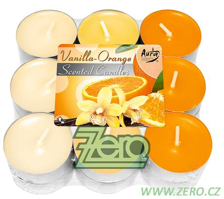 Svíčka čajová pr. 4 cm (18 ks) s vůní - krém/oranž,