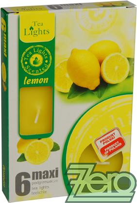 Svíčka čajová pr. 6 cm (6 ks) s vůní - žlutá,