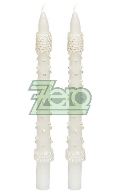 Svíčka dlouhá s perlami 24,5 cm - bílá  ,