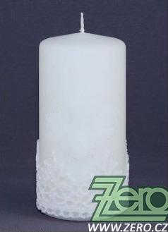 Svíčka válec pr.7 cm, výška 15 cm - bílá s krajkou,