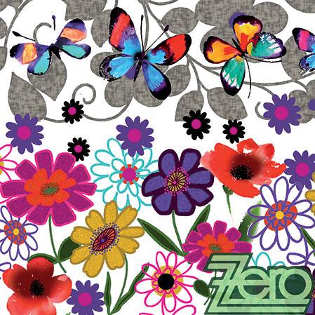 Ubrousky papírové s potiskem 20 ks - kytky+motýlci,