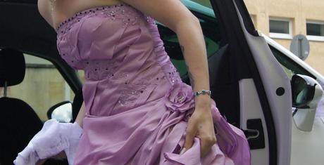 fialovo-ružové šaty kombinované s bielou + bolerko, 38