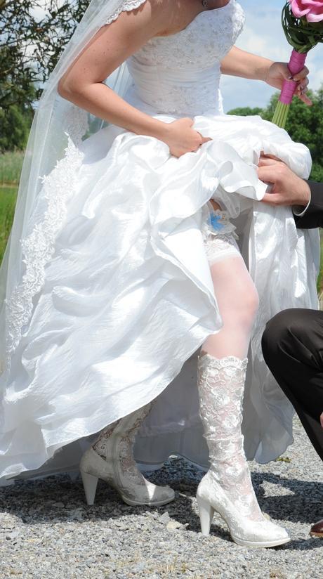 Svatební krajkové kozačky, 38