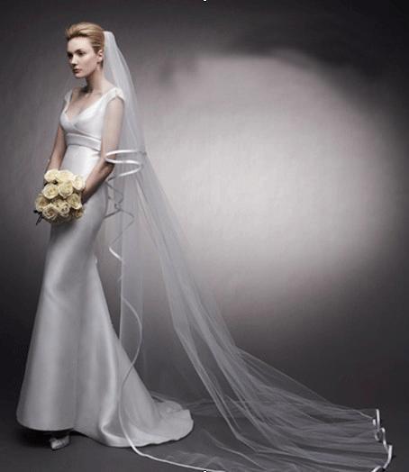 Dlouhý svatební závoj bílý 12-SKLADEM,