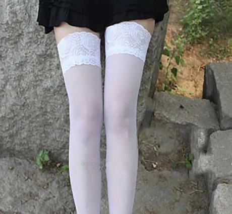 Samodržící punčochy bílé 04, L