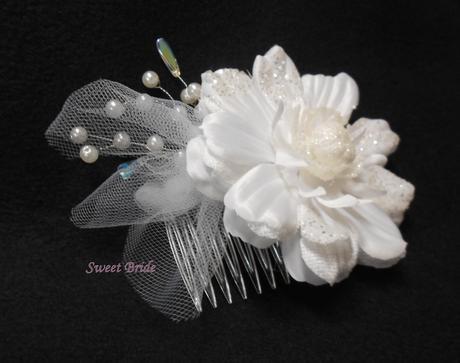 Svatební hřebínek s květem 59-SKLADEM,
