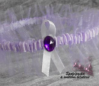 Svatební podvazek světle fialový 09-SKLADEM, L