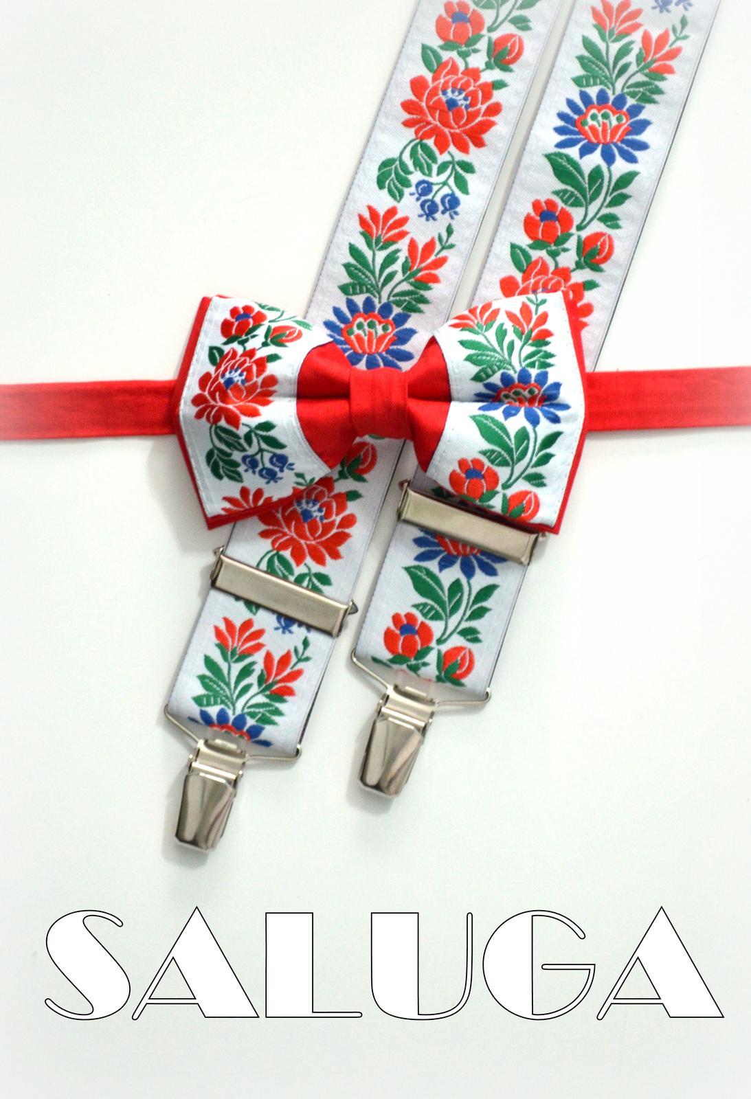 97cd69f62 Folklórny červený motýlik a traky, - 29 € | Svadobné shopy | Mojasvadba.sk