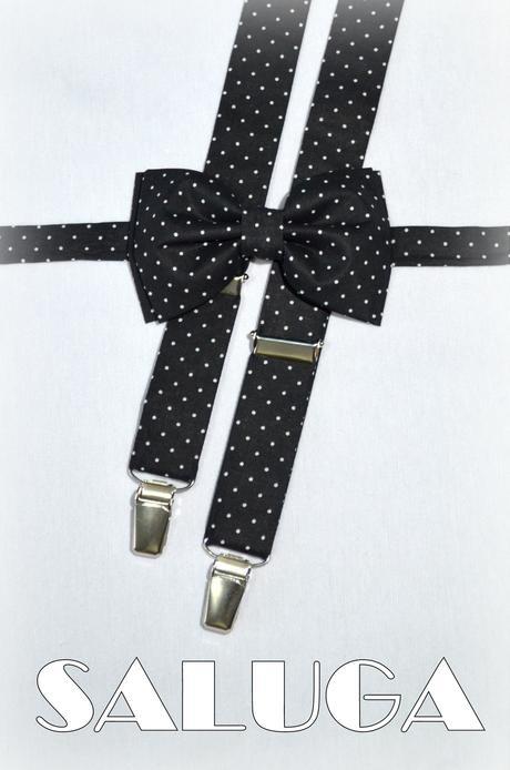 Čierny motýlik na biele bodky a traky,