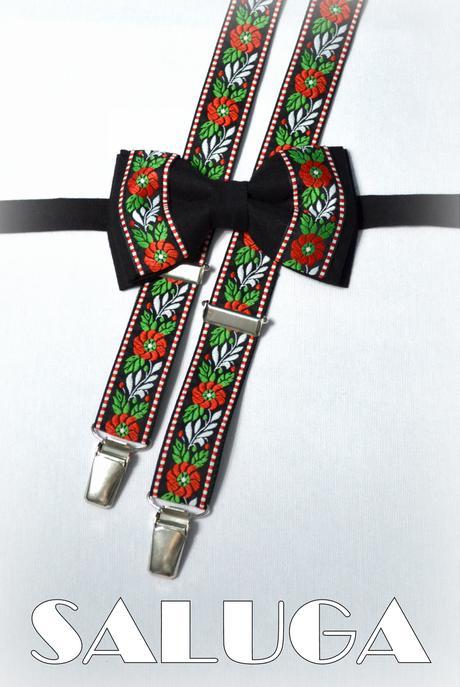 Folklórny pánsky čierny motýlik - folkový ľudový ,