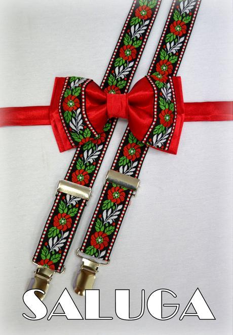 Folkový, folklórrny červený motýlik + traky ľudový,