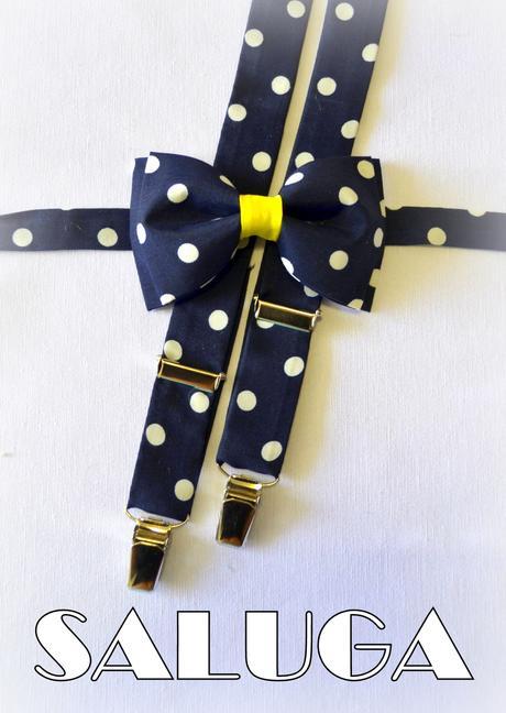 Modrý motýlik na bodky so žltou a traky,