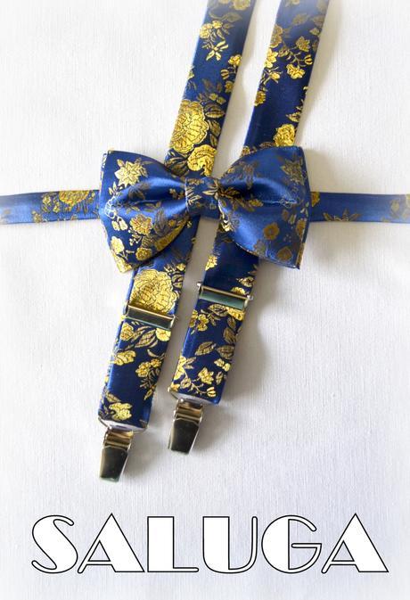 Modrý motýlik so zlatým vzorom + traky,