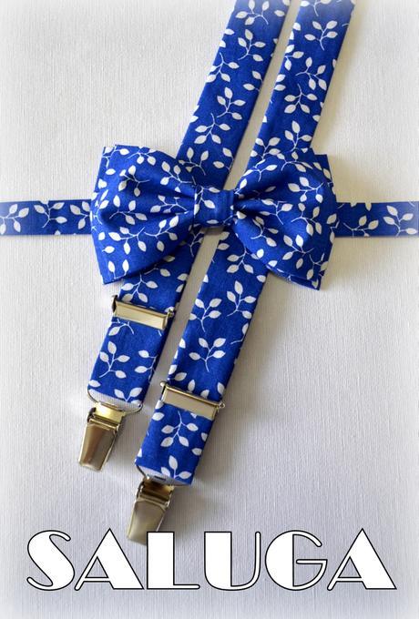Modrý vzorovaný motýlik a traky,