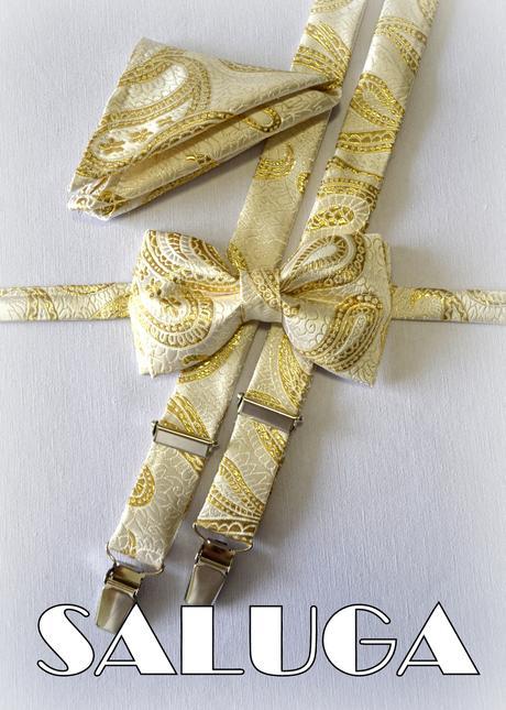 Svadobný zlatý motýlik + traky + vreckovka,