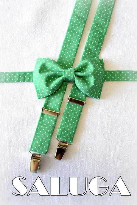Zelený bodkovaný motýlik + traky,