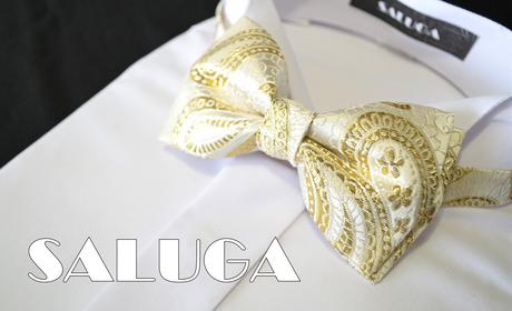 Zlatý vzorovaný pánsky motýlik - svadobný,