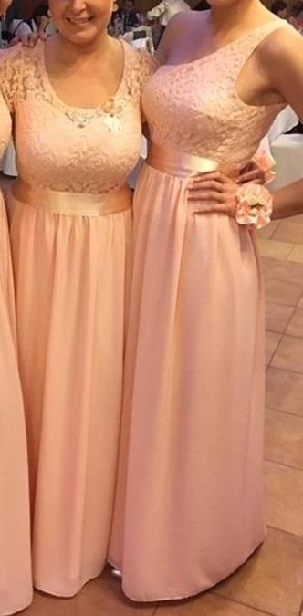 Marhuľovo ružové spoločenské/ družičkovské šaty, 40