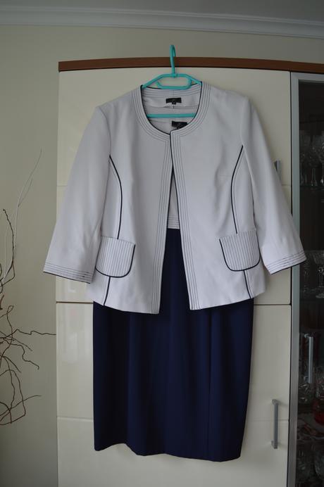 Tmavomodré šaty + sako , 46
