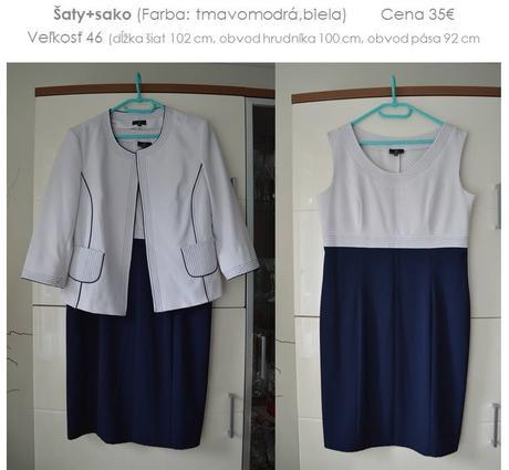 Tmavomodré šaty + sako - pre svadobnú mamu, 46