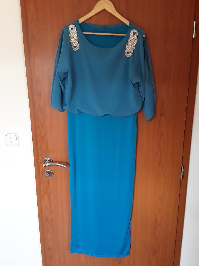Společenské šaty tyrkysové  cb68ed73b6