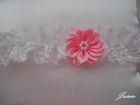krajkový podvazek s kytičkou-růžová (baby), 36