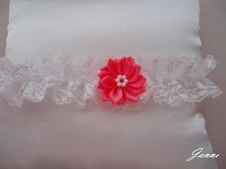 krajkový podvazek s kytičkou-růžová (pink), 38