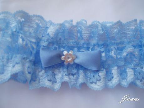 modrý povazek mašlička+kytička, 38