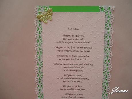 poděkování rodičům-zelené+krajka a motýlci,