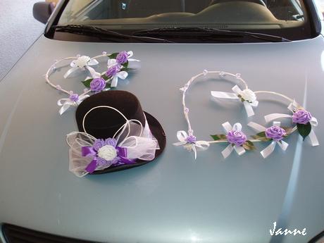 svatební set na auto-2srdce+cylindr,
