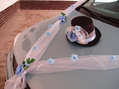 svatební set na auto-modré kvítky,