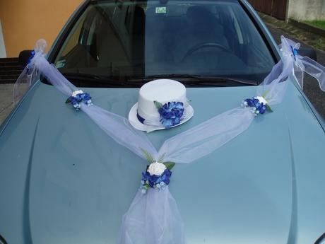 svatební set na auto-modrý,