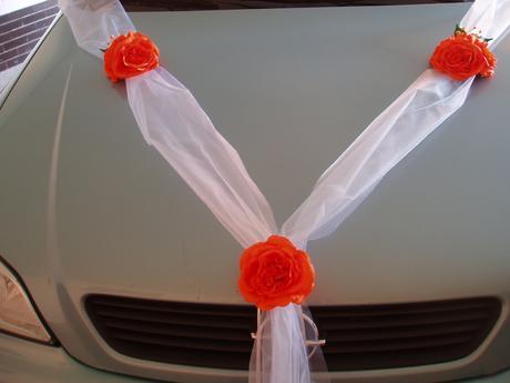 svatební set na auto-oranžový,