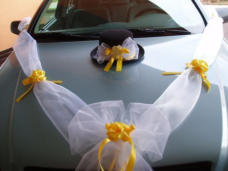 svatební set na auto-žlutý,