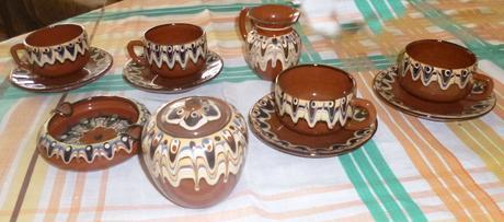 Čajová/kávová súprava s popolníkom,