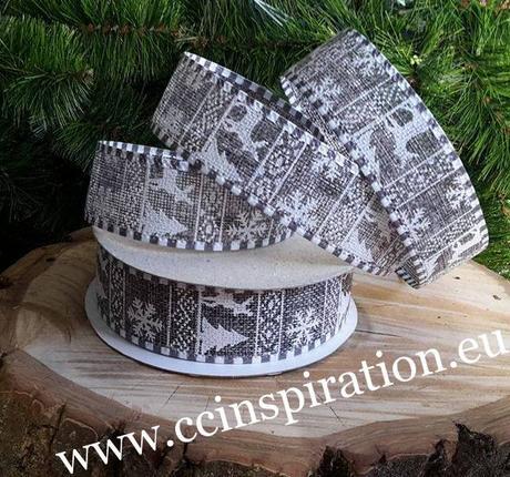 Jutová vianočná stuha s drôtom 4cm/9,1m - šedá,