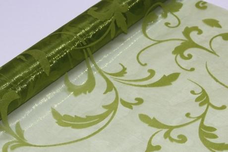 Organza s glittrovou potlačou - zelená,