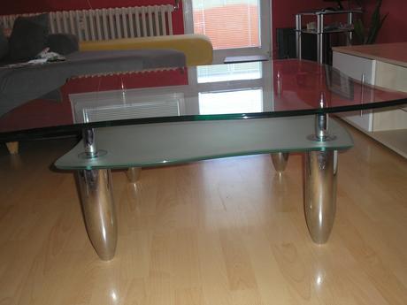 stol skleneny  s kombinaciou chrom a mliecne sklo,