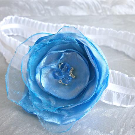 Podvazek pro nevěstu, modro bílý, 38