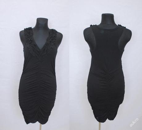 Černé šaty tunika s volánky, 40