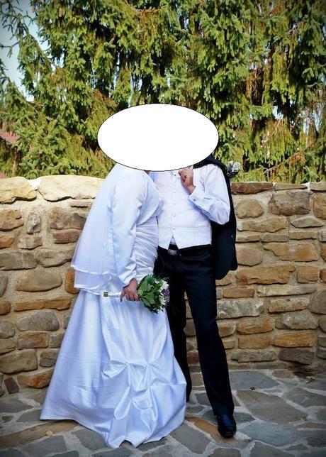 Svadobné šaty 44-46 + vestička pre ženícha, 46