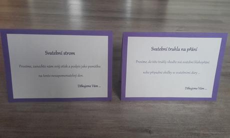 Označení svatební truhly a svatebního stromu,