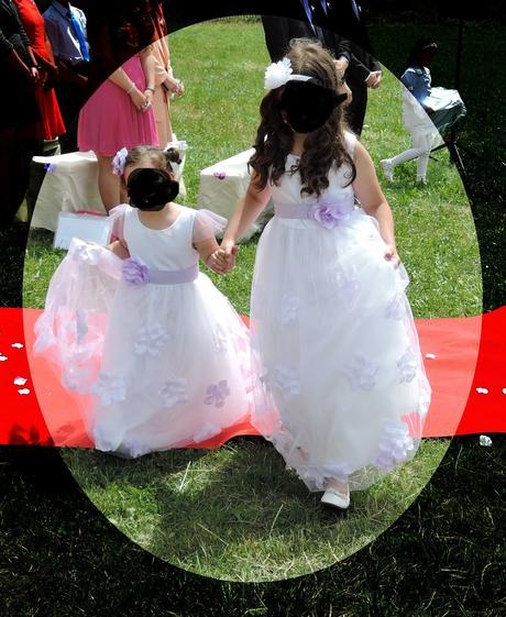 Bílé/fialové šaty pro družičku 122 a 164, 122