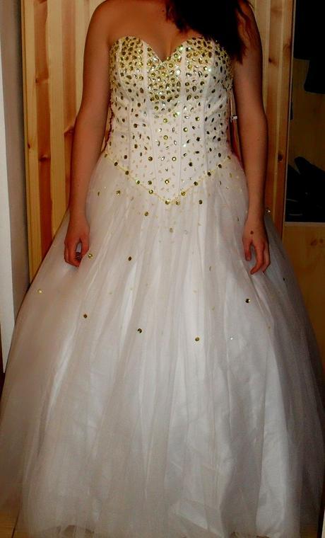Svadobné / spoločenské šaty + kruh, 42