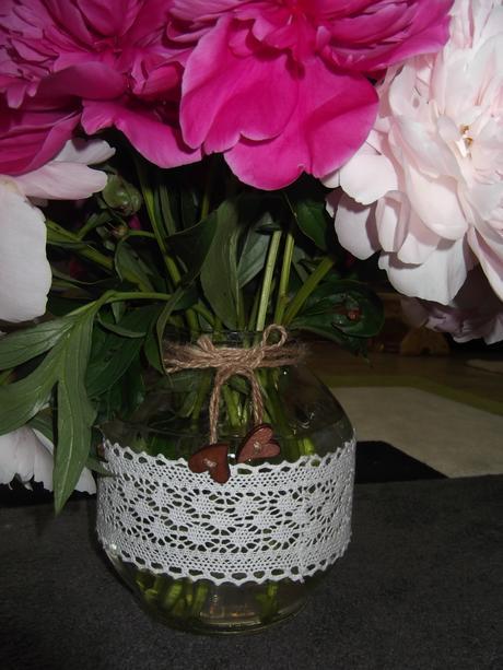 Handmade vazicka s čipkou,