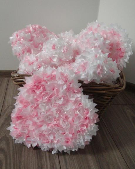 Vypichované bielo - ružové srdcia,