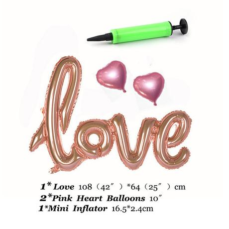 0Balon Love + 2 srdiečka + nafukovač,